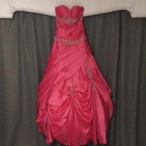 Pink strapless corset ball gown.